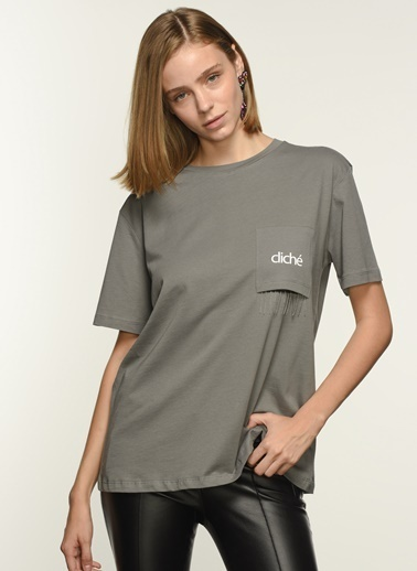 NGSTYLE Kadın Cep Detaylı  Tişört NGKSS21TS0041 Antrasit
